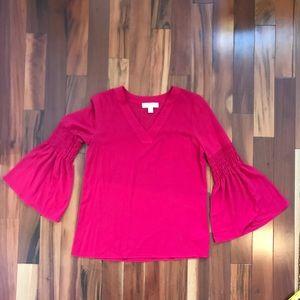 Red Michael Kors Bell Sleeve Flutter Shirt Blouse